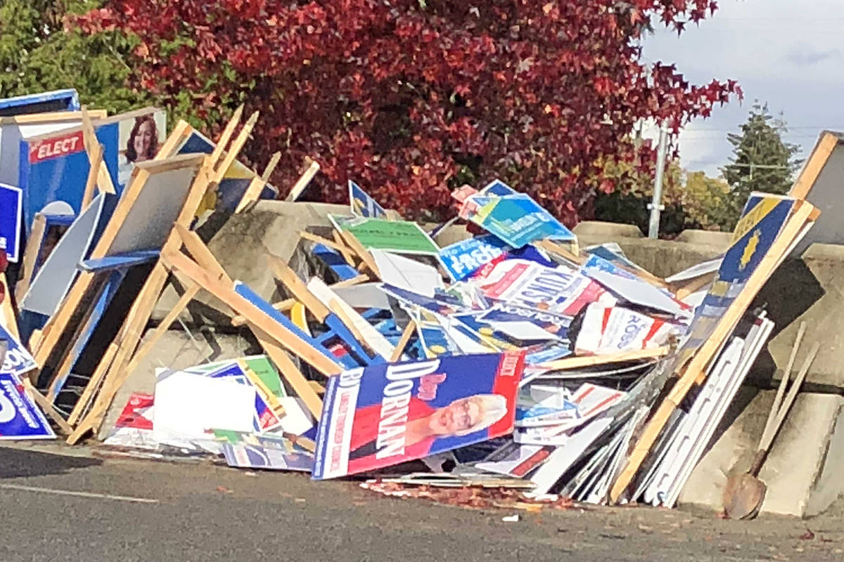 Discarded election signs at the Langley Township public works yard. Heather Colpitts Black Press