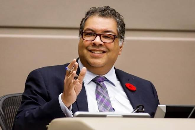 Mayor Naheed Nenshi instructs Calgary City council on motions to kill the 2026 Winter Olympic bid and cancel a Nov. 13 plebiscite on whether it should proceed, in Calgary, Alta., Wednesday, Oct. 31, 2018.THE CANADIAN PRESS/Jeff McIntosh