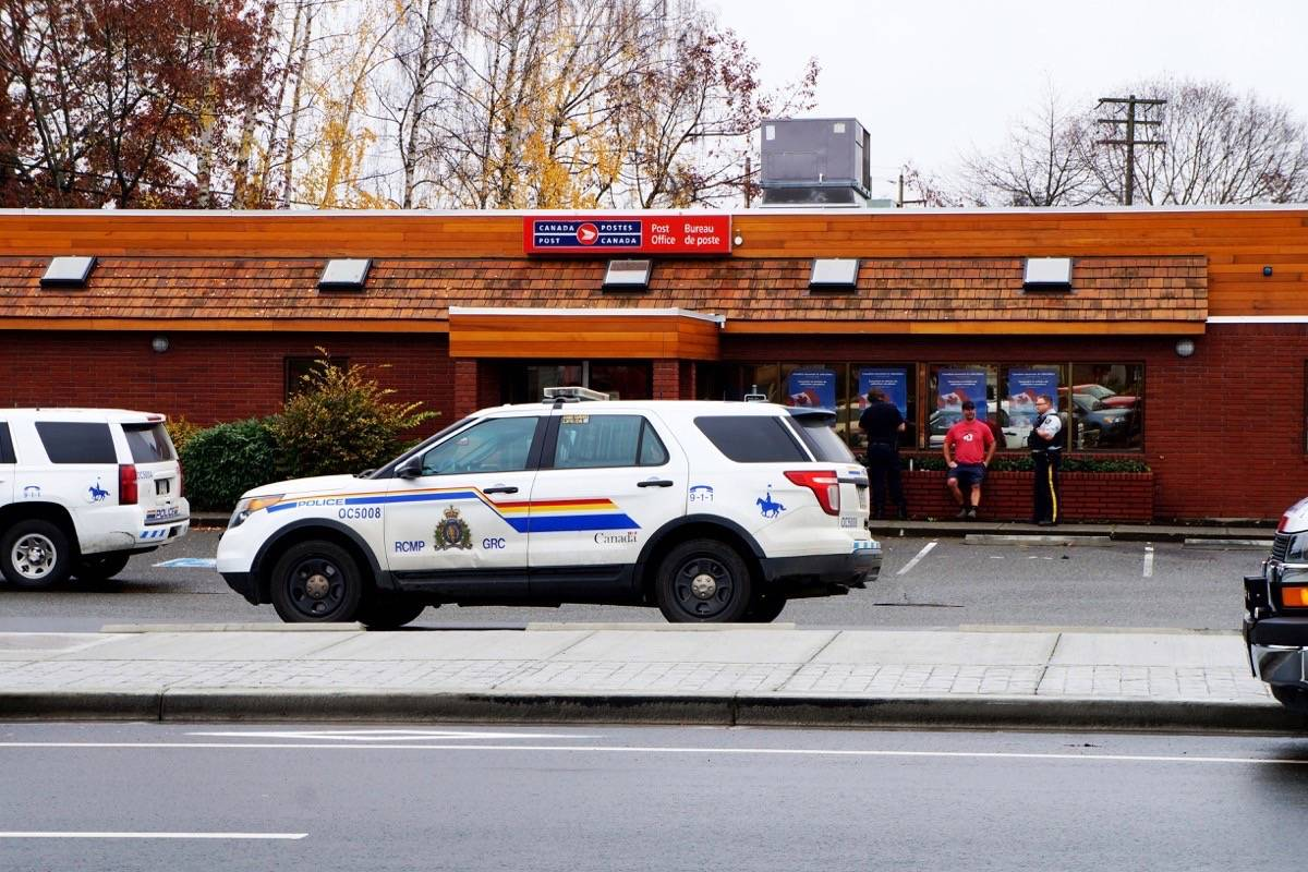 The Parksville Canada Post office was evacuated on Nov. 1 around 10:30 a.m. after an employee found a powdered substance on a package. The Oceanside RCMP and a specialized drug testing team are investigating. - Karly Blats photo