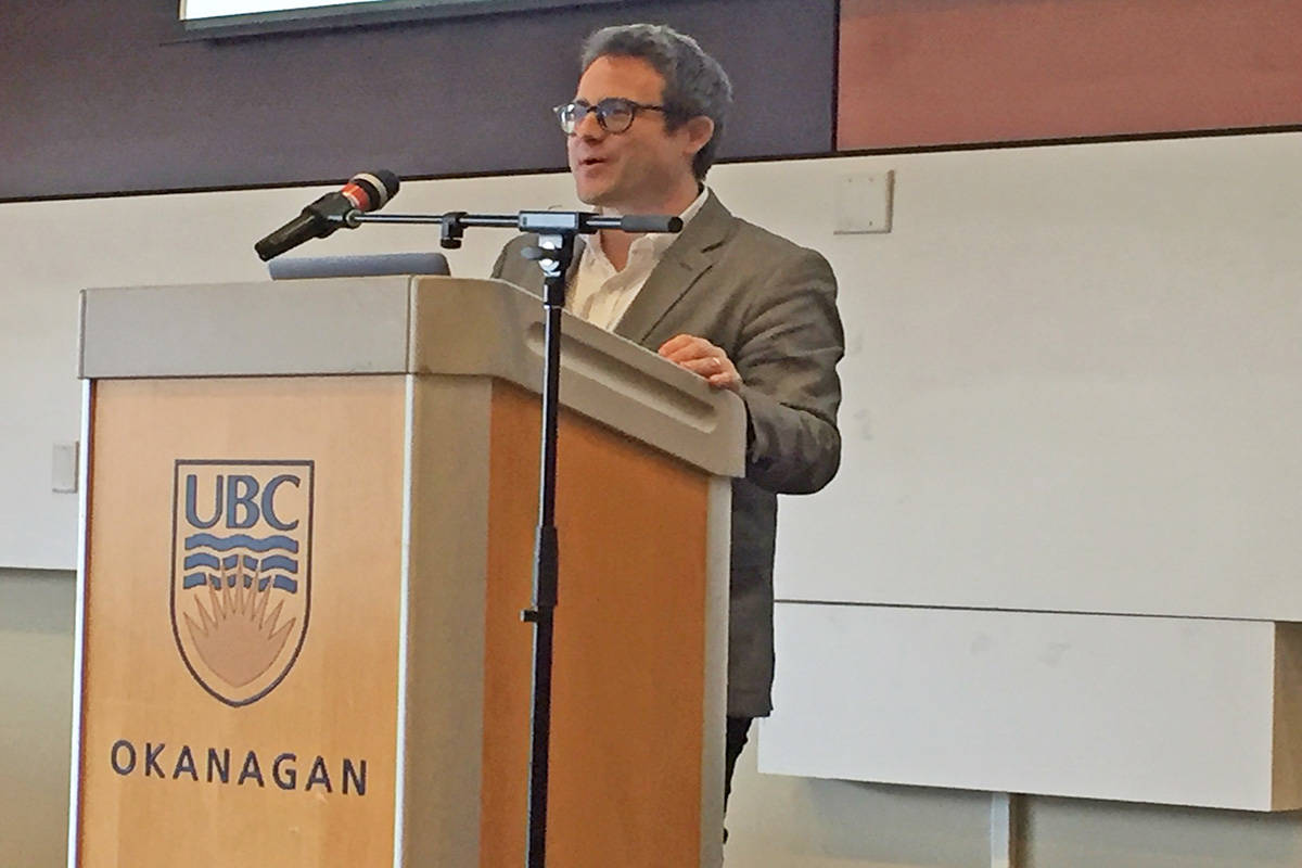 UBC assistant professor Taylor Owen spoke about the negative impact of social media technology at a conference held Friday at UBC Okanagan. Photo: Barry Gerding/Black Press