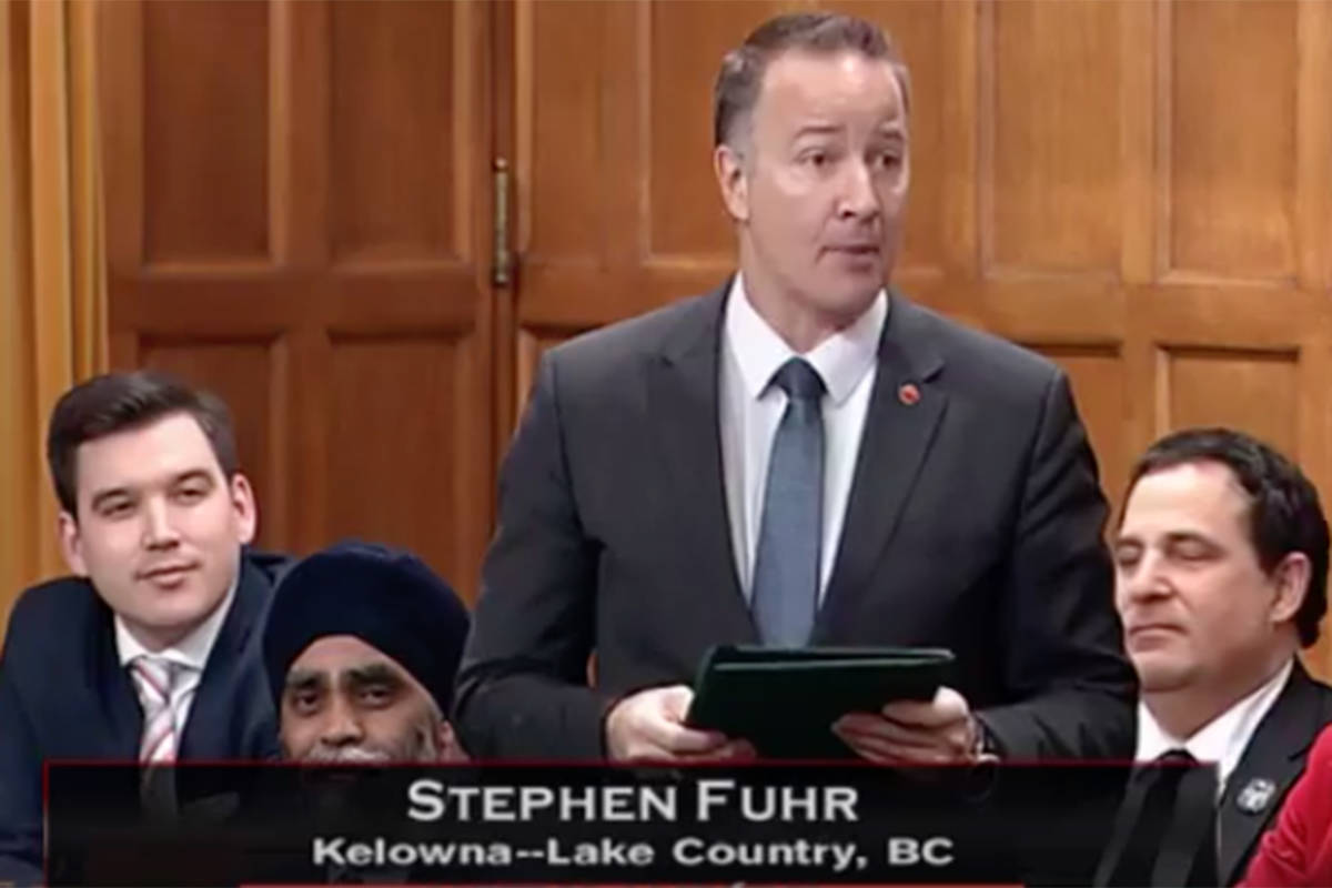Kelowna-Lake Country Liberal MP Stephen Fuhr in the House of Commons. —Image: Facebook