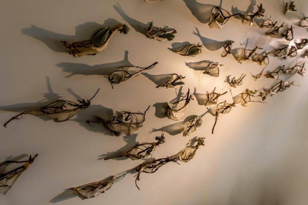 The Fort Gallery's Murmuration exhibit is created from branches and leaves. Courtesy Bill Beatty