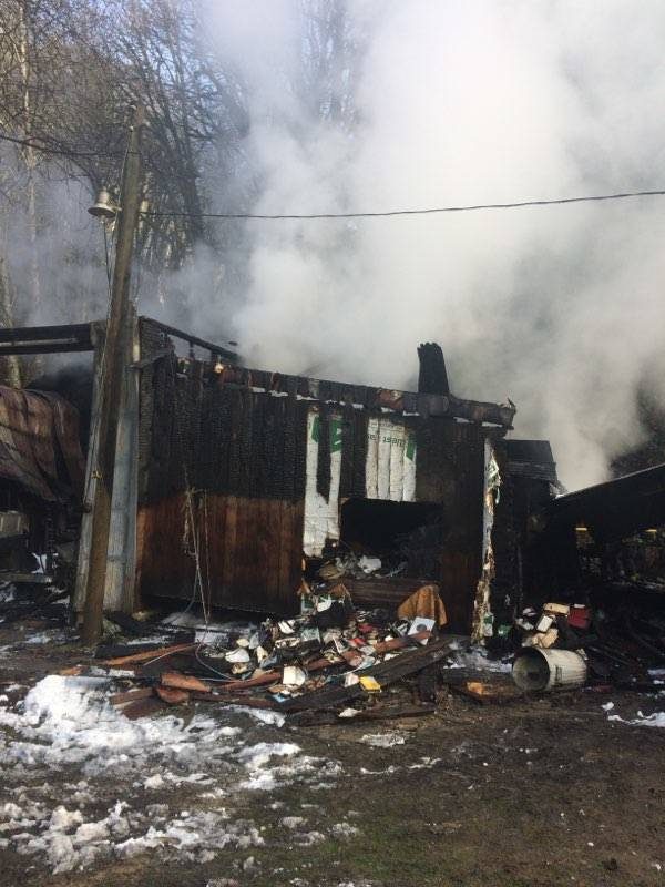 Fire destroyed a woodworking shop in the 7000 block of 272 St. Photo courtesy Township of Langley fire department.