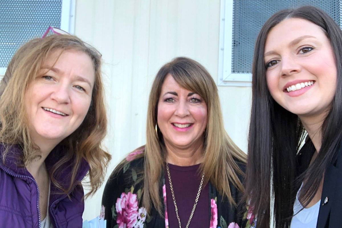 Three Fairy Godmothers met with the Langley Secondary school district to plan the formal wear distribution. (left to right) Lizette Estebeth, Teresa Gentle, Natalie May. Courtesy Lizette Estebeth