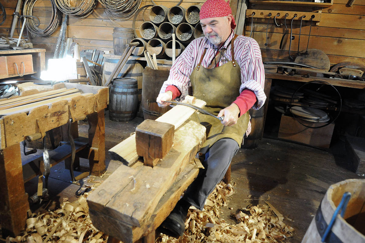 Glenn Slipiec was working in the historic Fort Langley cooperage hand-carving barrel staves, a job that produces mounds of wood shavings. Black Press photo