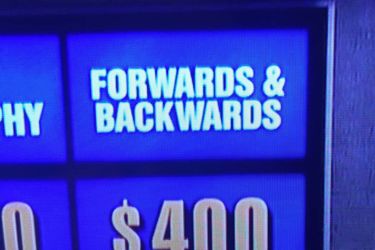 """Jeopardy used the category """"Forwards & Backwards"""" on its Nov. 20 show, spurring levidrome fans to take to twitter to suggest the game show use the Victoria-born word instead. (Photo submitted by Lucky Budd)"""