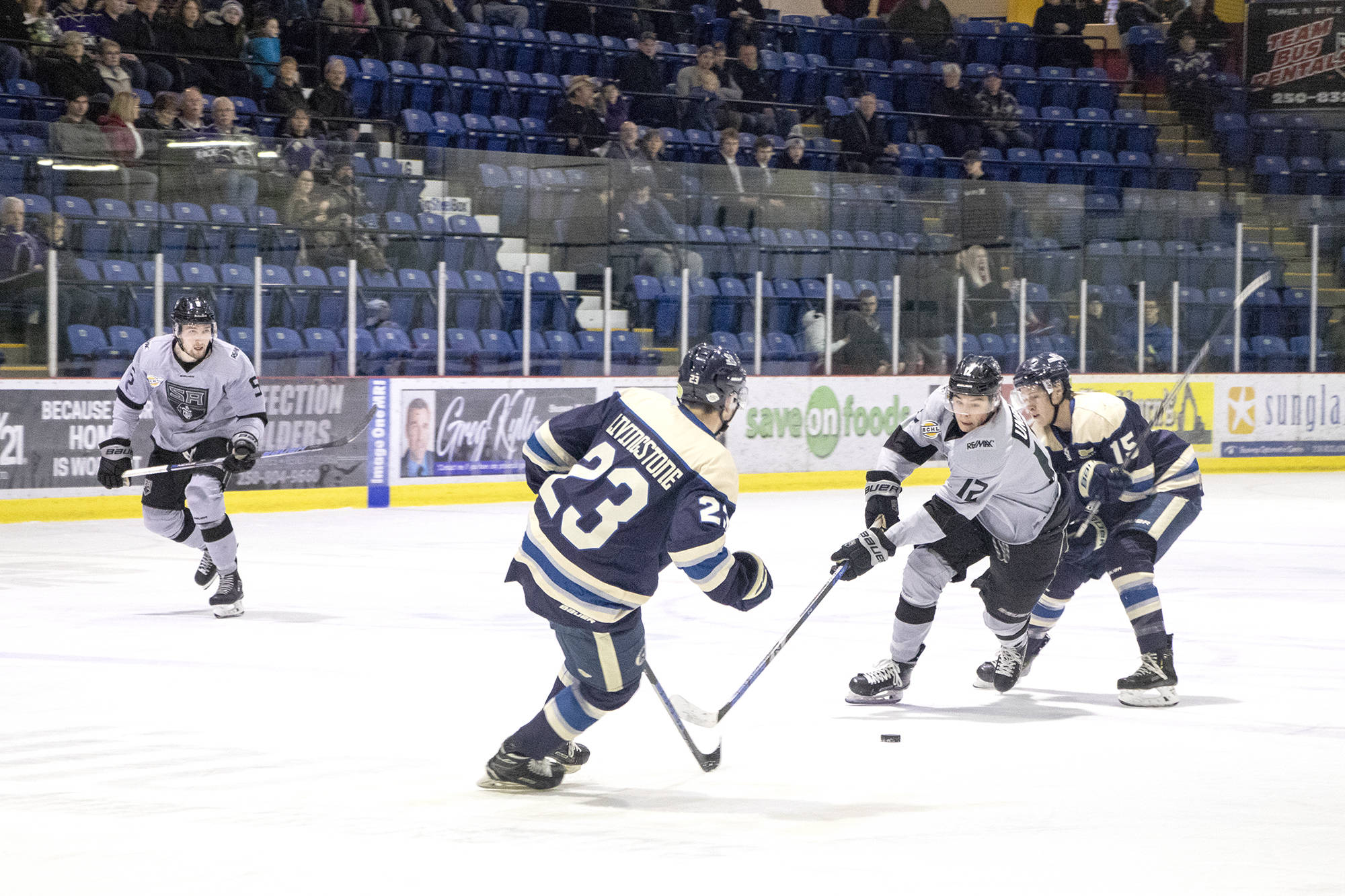 Silverbacks' forward Nick Unruh cuts between Jake Livingstone and Daneel Lategan of the Langley Rivermen while pushing into their zone during the Nov. 28 game at the Shaw Centre. (Jodi Brak/Salmon Arm Observer)