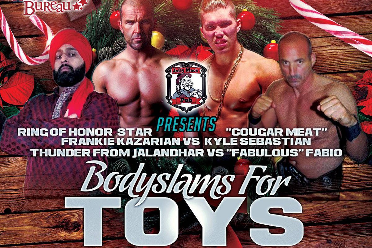 All Star Wrestling's annual Bodyslams for Toys event is coming to the Cloverdale Fairgrounds on Saturday, Dec. 8. (All Star Wrestling)
