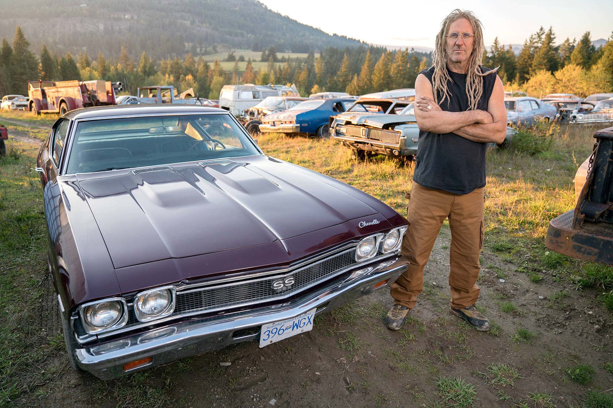 Mike Hall, shown here with a restored Chevelle SS at his property near Tappen, is the focal point of the History Channel show Rust Valley Restorers which premiers Dec. 6. (Image contributed)