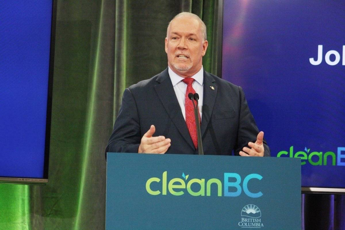 Premier John Horgan announces his government's plan to address climate change in Vancouver on Wednesday, Dec. 5, 2018. (Kat Slepian/Black Press Media)