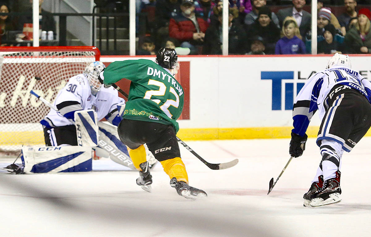 Vancouver Giants, who trumped the Victoria Royals Saturday night 2-1, wore Buddy the Elf stylized jerseys that are now being auctioned off to raise money for the CKNW's kids fund. The game at Pacific Coliseum also featured the annual teddy bear toss. (Rik Fedyck/Vancouver Giants)