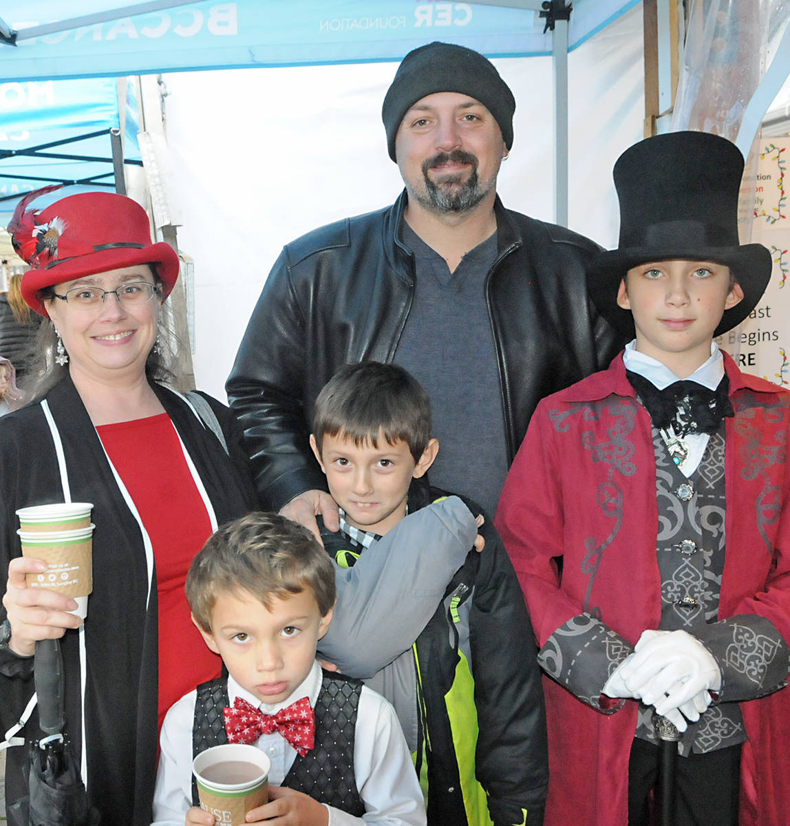 Khelben Swetlikoff and his family at the Krause Berry pancake with Santa fundraiser. Right to left: Qetrina Swetlikoff, brothers Viktor and Dante, dad Steve and Khelben. Black Press photo
