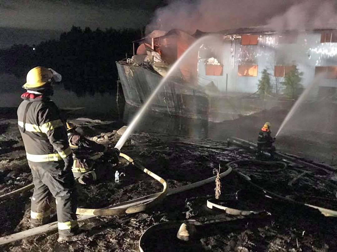 Firefighters battle barge fire on Fraser River