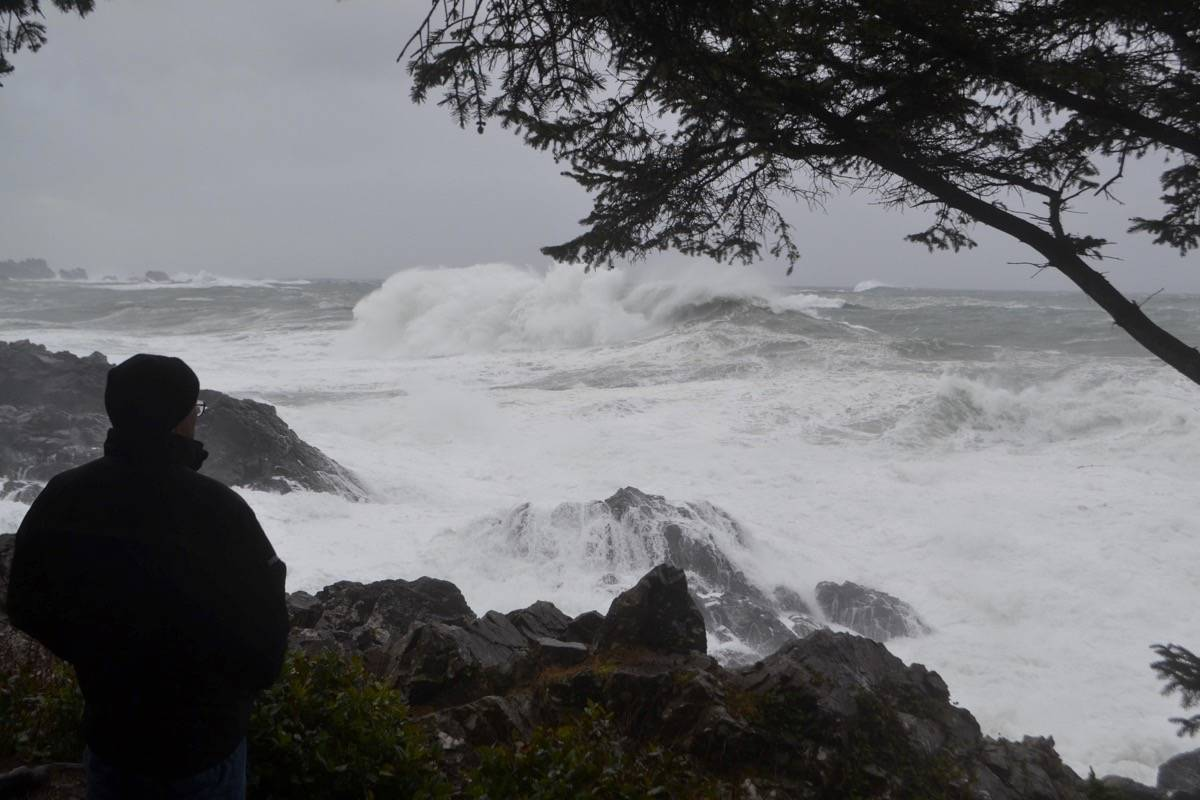 A West Coast resident watches a giant wave crash down from a safe viewing platform on Ucluelet's Wild Pacific Trail. (Nora O'Malley / Westerly News)