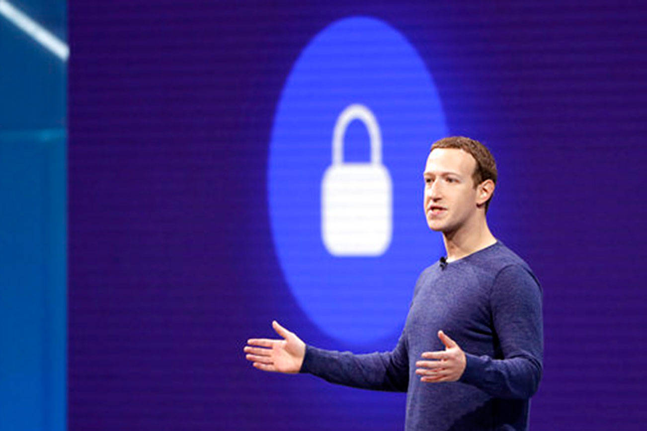 In this May 1, 2018, file photo, Facebook CEO Mark Zuckerberg makes the keynote speech at F8, Facebook's developer conference in San Jose, Calif. (Marcio Jose Sanchez/AP)