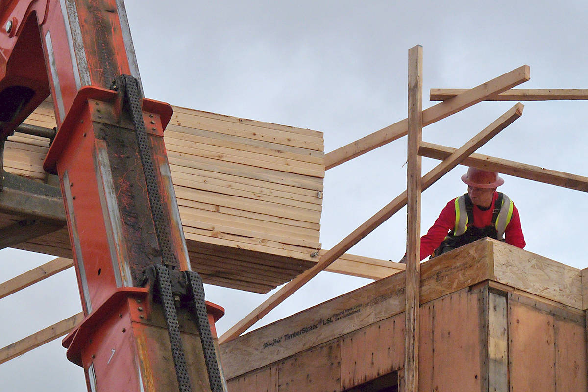 A construction worker unloads lumber at a Langley City construction site. Black Press photo