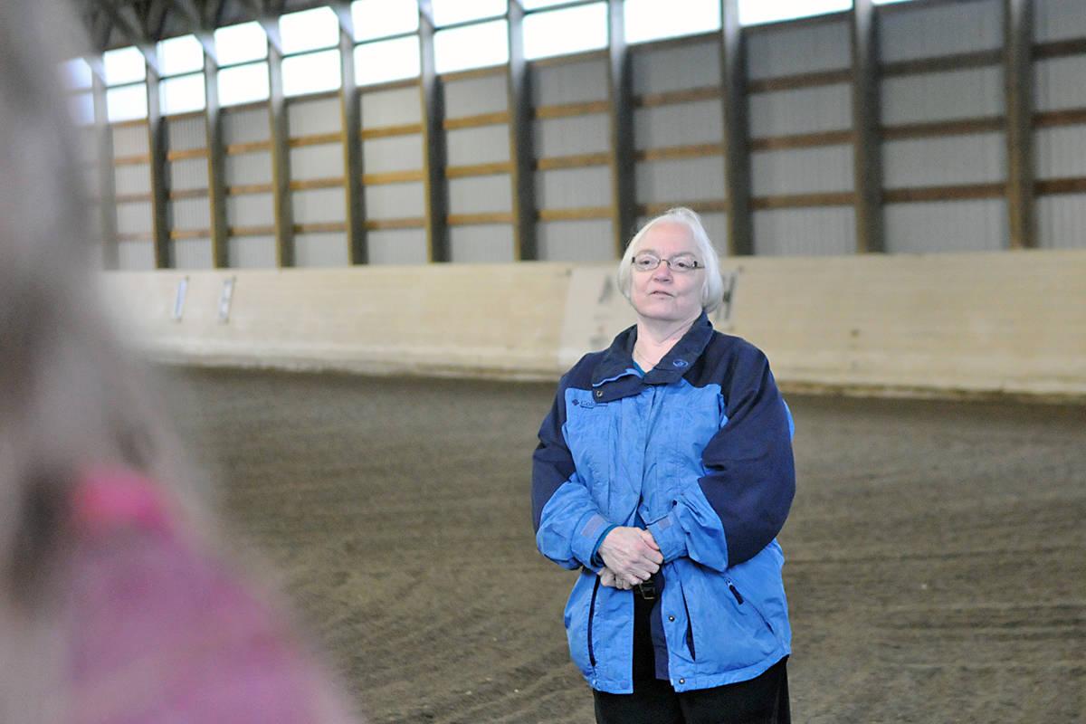 "Dr. Marian Moats spoke at the dedication of the 'Dr. Moats Memorial Arena"" at PRDA. Black Press photo"