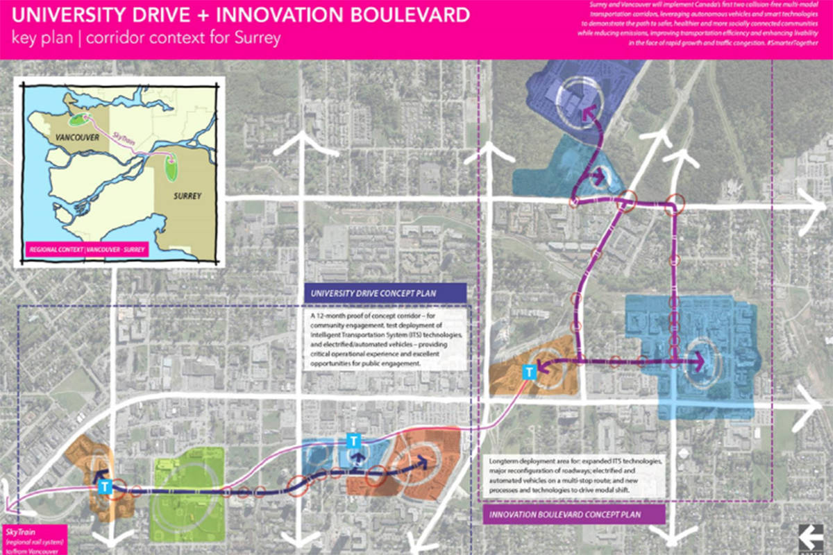 Map shows proposed routes of planned 'autonomous vehicle demonstration' routes in North Surrey. (Photo: surrey.ca)