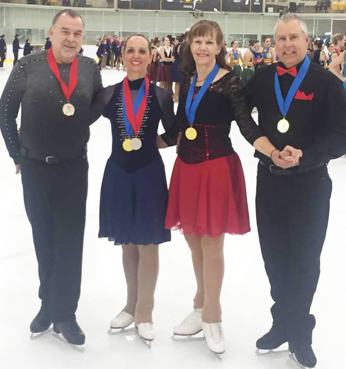 SUBMITTED PHOTO From left are the adult skating competition winners Len Morris, Nancy Edwards, Susan Edwards and James Wilkins.