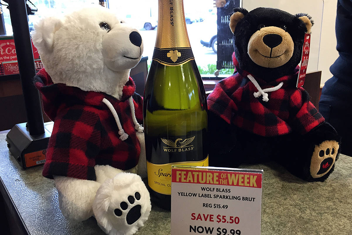The local liquor stores are selling the twin bears, one bear going home with consumers, the other going to a child in hospital or in a transition house this Christmas season. (Roxanne Hooper/Black Press)