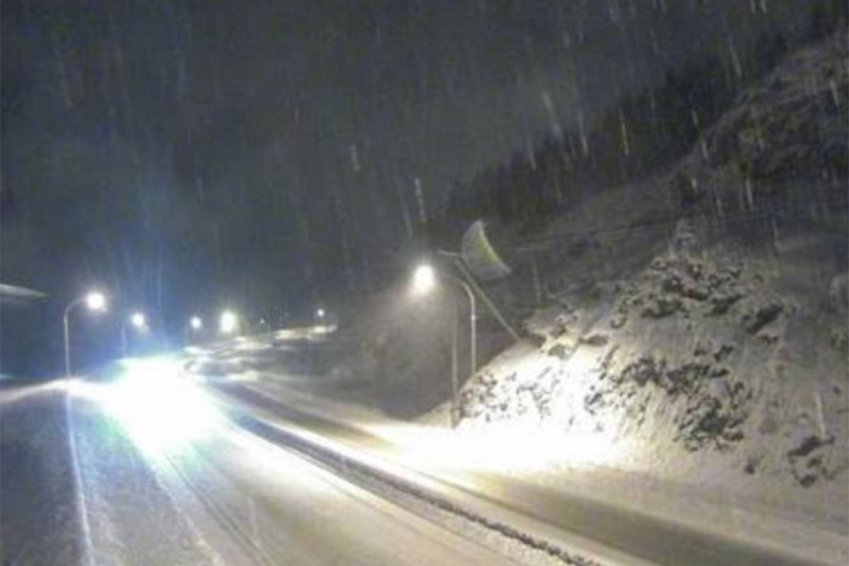 A winter storm warning has been issued for the Coquihalla Dec. 18. (DriveBC Webcam)