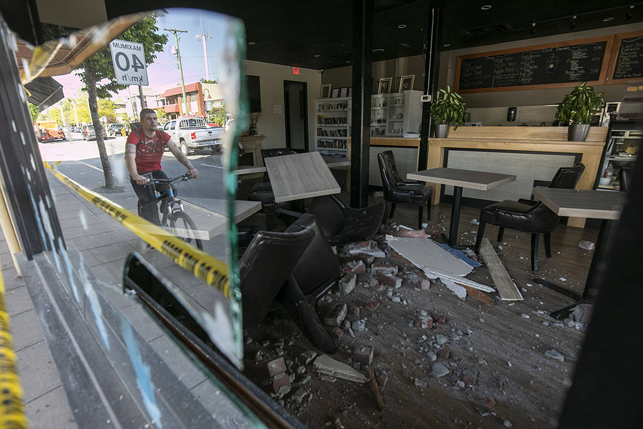 """Fortunately no one was in this restaurant when a vehicle jumped the curb and drove directly into the business destroying the entrance and much of the interior. Being a former restaurant owner I can't imagine how difficult it is to recover from an interruption like this. The accident happened in May, and the restaurant still isn't open in December."" (Arnold Lim/Black Press)"