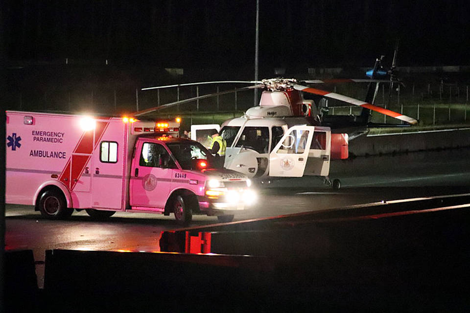 A man was airlifted to hospital on Tuesday night after a stabbing incident in Mission. / Shane MacKichan Photo