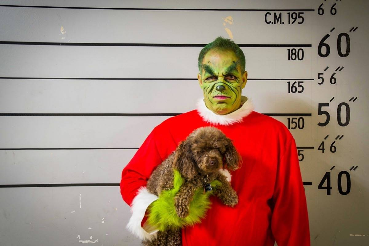 Ridge Meadows RCMP Insp. Aaron Paradis as the Grinch. (Contributed)