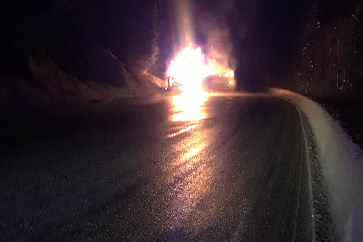 A semi trailer caught fire on the Trans Canada highway last night. The highway is open to alternating traffic this morning. (Submitted)