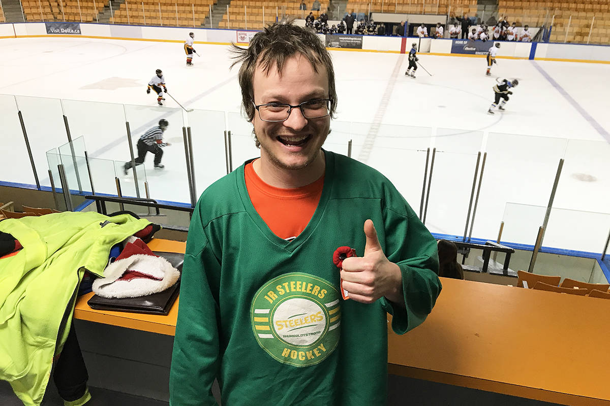 Steven Guinther-Plank, a Surrey resident, at Sungod Arena in North Delta during a recent minor hockey game. (Photo: Tom Zillich)