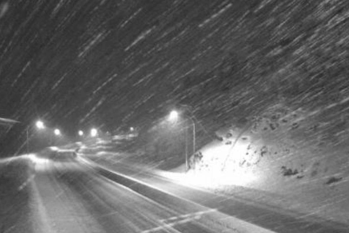 A winter storm warning is in effect for the Coquihalla Highway and many B.C. roadways are under snowfall warnings. (DriveBC Highway Webcam)