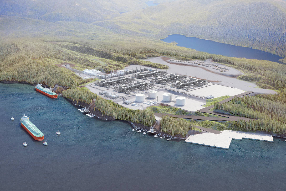 A rendering of the proposed WCC LNG project in Seal Cove, Prince Rupert. (Contributed by WCC LNG Holdings Ltd.)