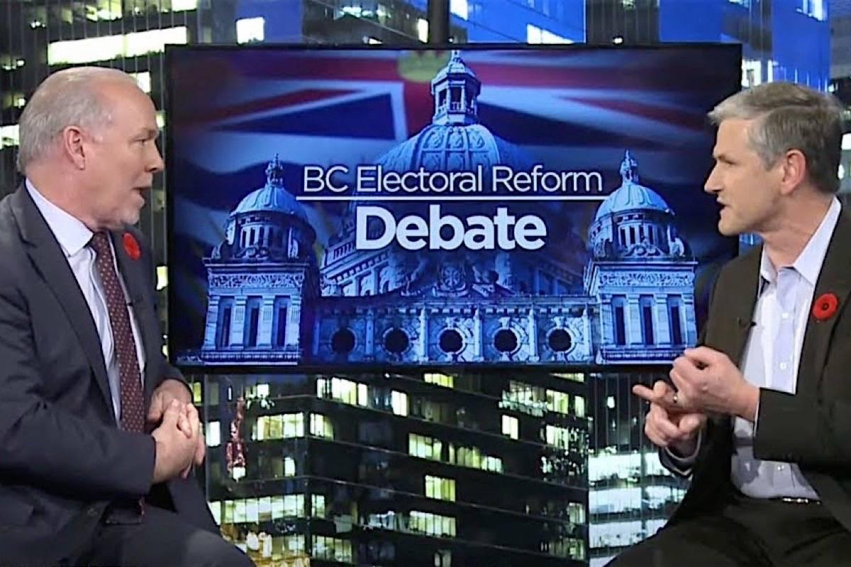 Premier John Horgan and B.C. Liberal leader Andrew Wilkinson debate proportional representation, Nov. 8, 2018. (Youtube)
