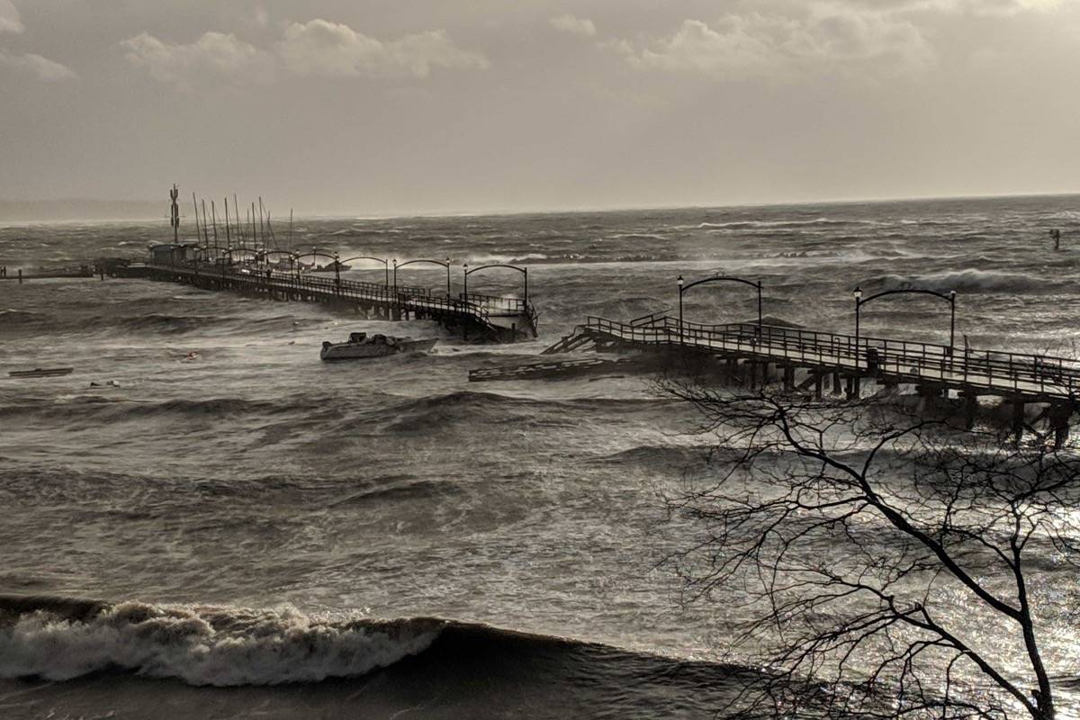 UPDATED: Man rescued after B.C. city's pier breaks up in wind storm