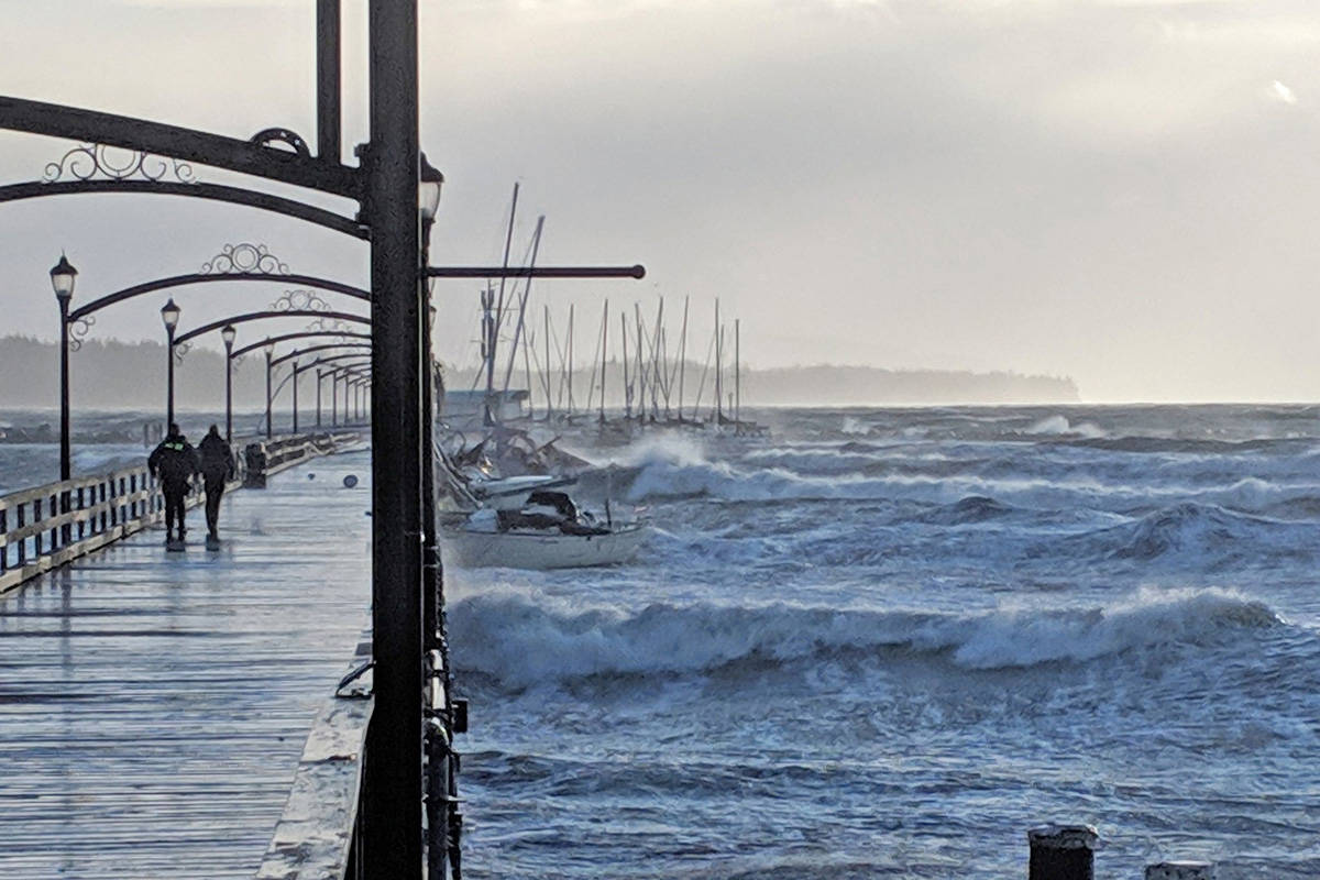 Ahead of the waves wreaking havoc on the pier, several boats were docked. (Black Press Media)