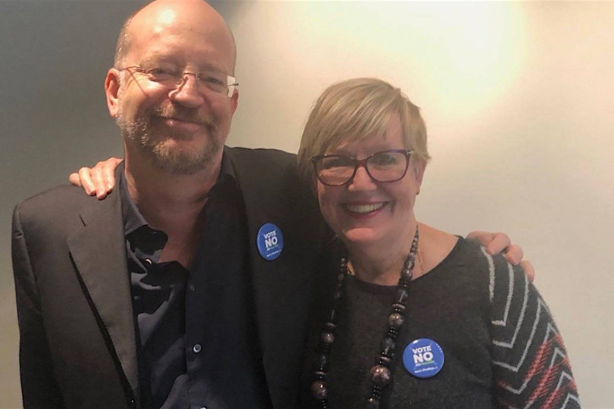 Long-time NDP supporter Bill Tieleman and former B.C. Liberal attorney general Suzanne Anton celebrate a win for the official No Proportional Representation campaign, which they co-chaired. (Twitter)