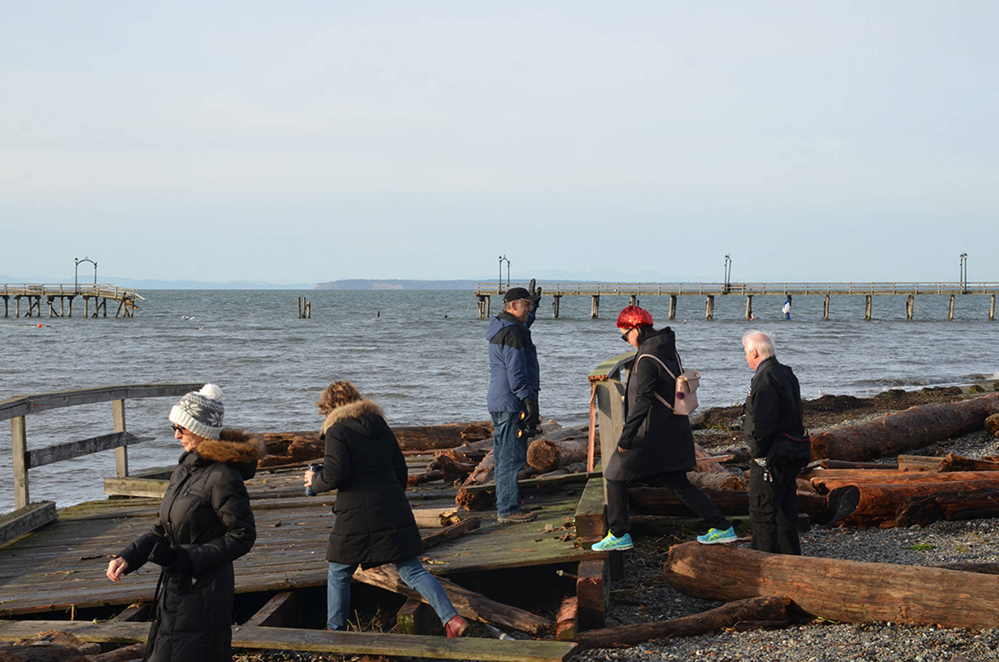 A chunk of the pier in White Rock ripped apart by strong waves and loose boats. (Ashley Wadhwani/Black Press Media