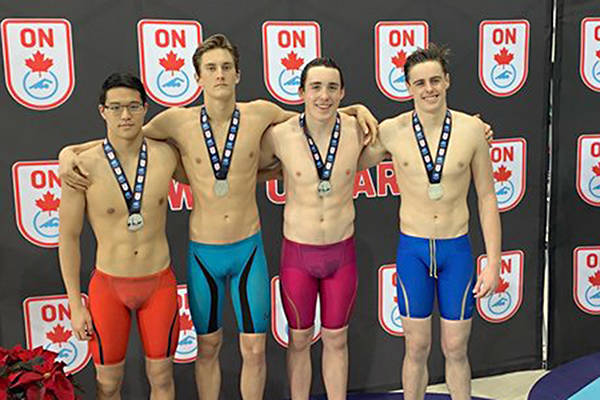 The Team B.C. Relay team, with Langley Olympians swimmer Joshua Kim, finished second at the 2018 Ontario Junior International Swim Meet.