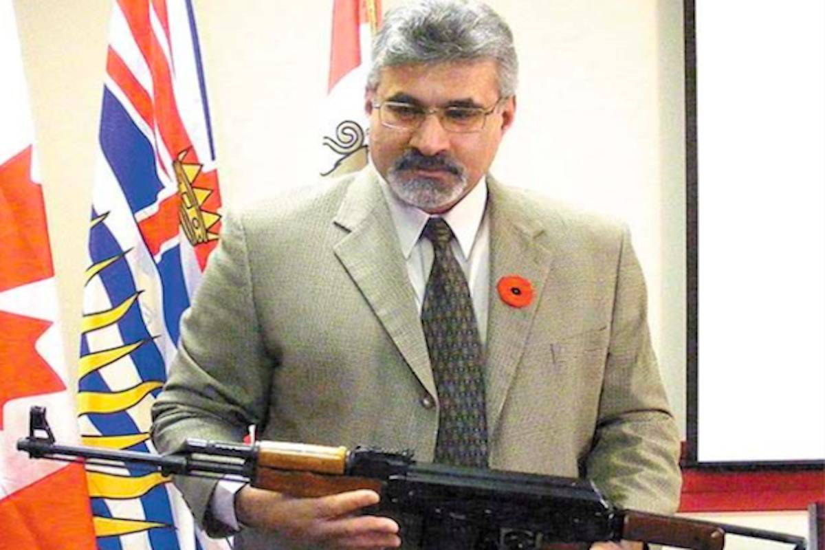 Sgt. Shinder Kirk is shown here during a 2013 press conference in Cranbrook with the Combined Forces Special Enforcement Unit. (Black Press file photo)
