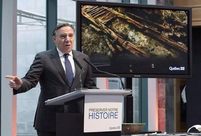 Quebec Premier François Legault speaks at the November press conference announcing the find. (Jacques Boissinot/Canadian Press)
