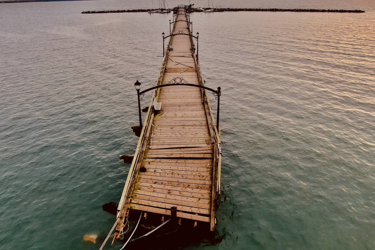 Aerial image of the White Rock pier after it was damaged by crashing boats. (Douglas Shi photo)