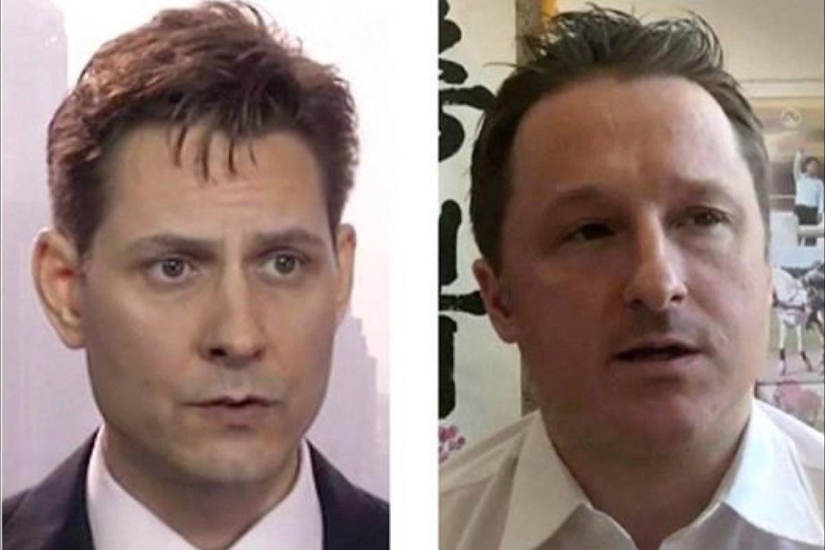 """Michael Kovrig (left) and Michael Spavor, the two Canadians detained in China, are shown in these 2018 images taken from video. People around the world are """"extremely disturbed"""" by China's detention of two Canadians, Prime Minister Justin Trudeau said in Mali this weekend as he called for Michael Kovrig and Michael Spavor to be released. Canada is communicating with China about how important it is to release the detainees, Trudeau said Saturday in reference to the two men taken into custody on security grounds earlier this month. (THE CANADIAN PRESS/AP)"""