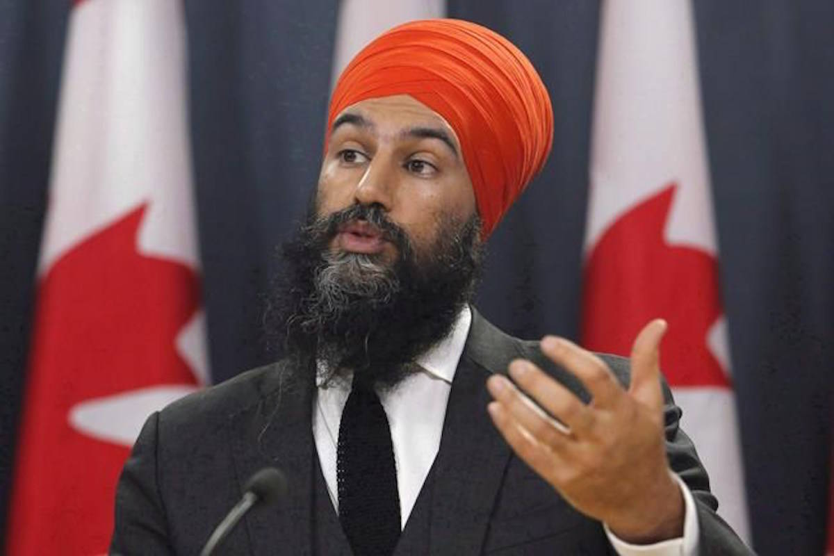 NDP Leader Jagmeet Singh speaks at a press conference as he unveils the NDP's top priorities ahead of the federal budget on February 13, 2018. Singh says he condemns all acts of terrorism no matter who is committing them. (Patrick Doyle/The Canadian Press)