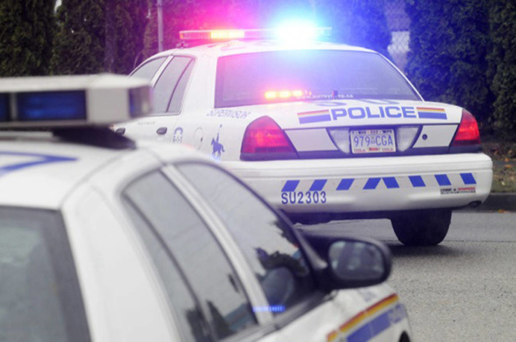 Police are on scene of an accident at 152nd Street and 68th Avenue Saturday morning (Dec. 29). (Photo: Black Press file)