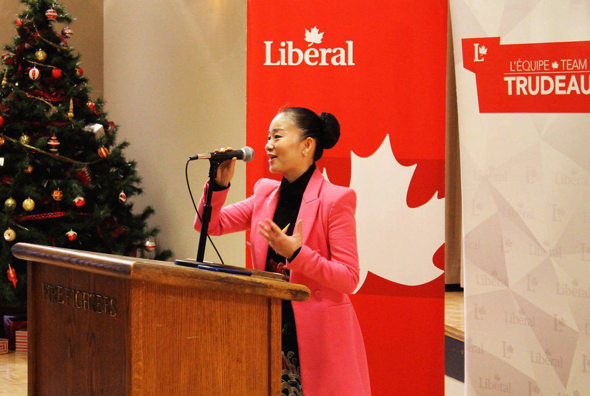 Karen Wang speaking to party members on Dec. 29, 2018 (Liberal Party photo)