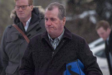 Gerald Stanley enters the Court of Queen's Bench for the fifth day of his trial in Battleford, Sask., on February 5, 2018. (THE CANADIAN PRESS/Liam Richards)