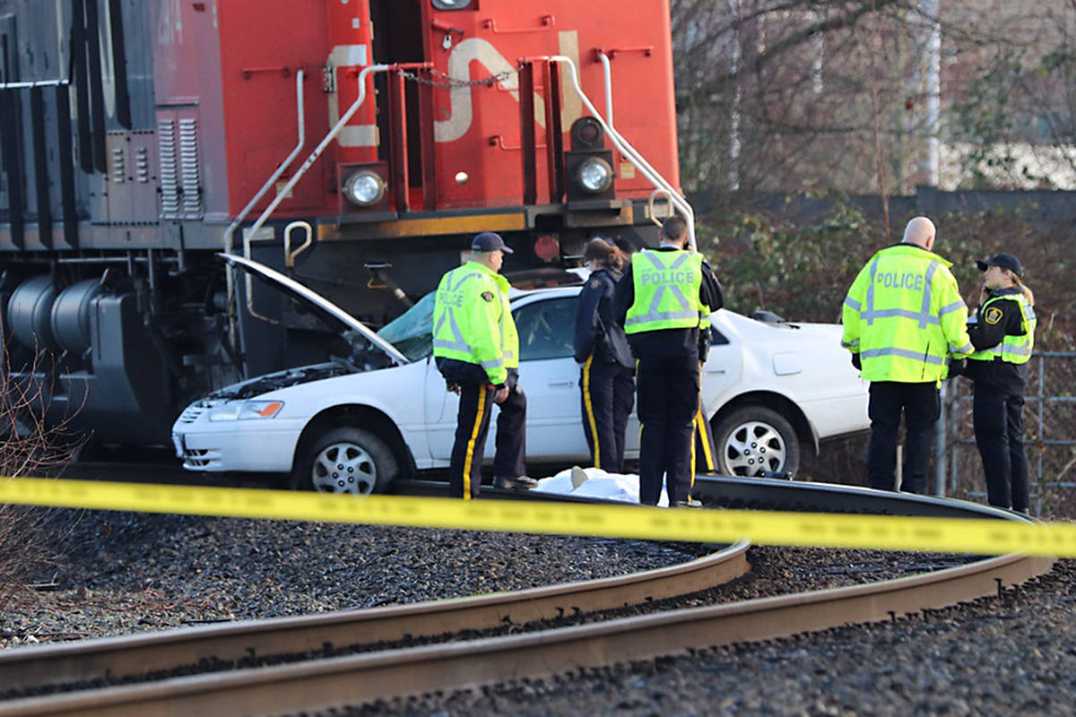 The site of the crash at the Langley Bypess and Glover Road in Langley on Dec. 30, 2018. (Shane MacKichan for Black Press Media)