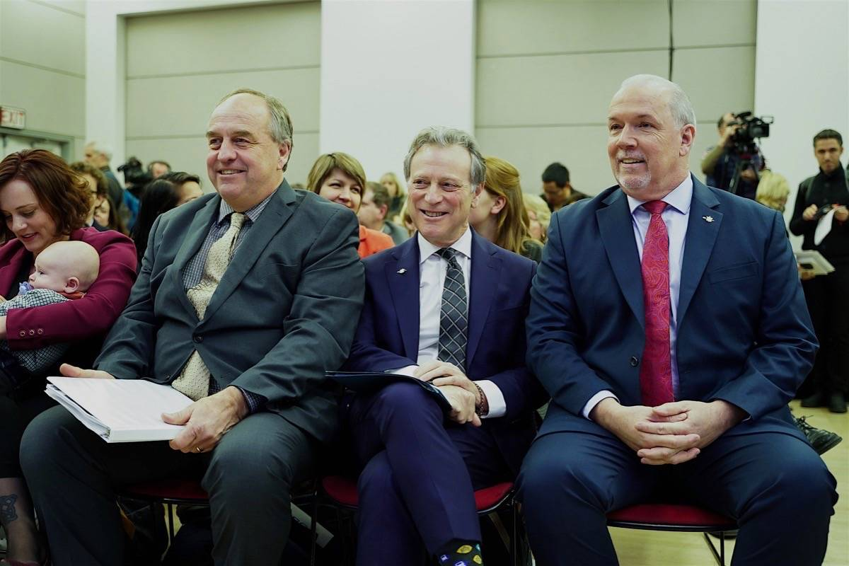 Minority partner: B.C. Green leader Andrew Weaver sits with NDP Energy Minister Michelle Mungall, Environment Minister George Heyman and Premier John Horgan at announcement of CleanBC plan, Vancouver, Dec. 5, 2018. (B.C. government)