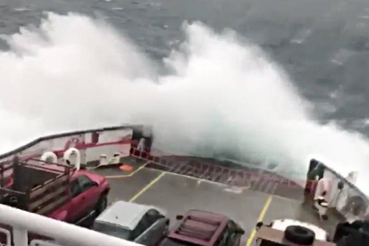 VIDEO: Giant waves cover BC Ferries vehicle deck