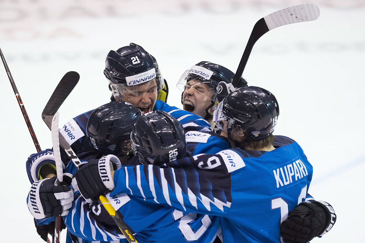 Finland's Otto Latvala celebrates his goal with his teammates during third period IIHF world junior hockey final action agains the United States in Vancouver, Saturday, Jan. 5, 2019. THE CANADIAN PRESS/Jonathan Hayward